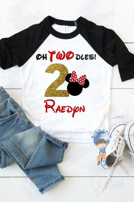 Oh Twodles Birthday T-shirt, Toddler Birthday Disney, Minnie Mickey Birthday, 2 Birthday, Second Birthday, Personalized Birthday T-shirts
