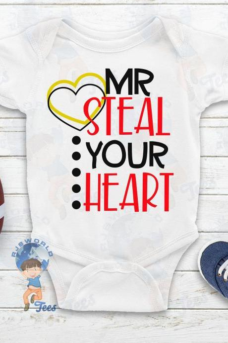 Mr Steal Your Heart Valentine's Day T-shirt, Boys Valentine's Day, Toddler Valentine T-shirt, Baby Valentine T-shirt